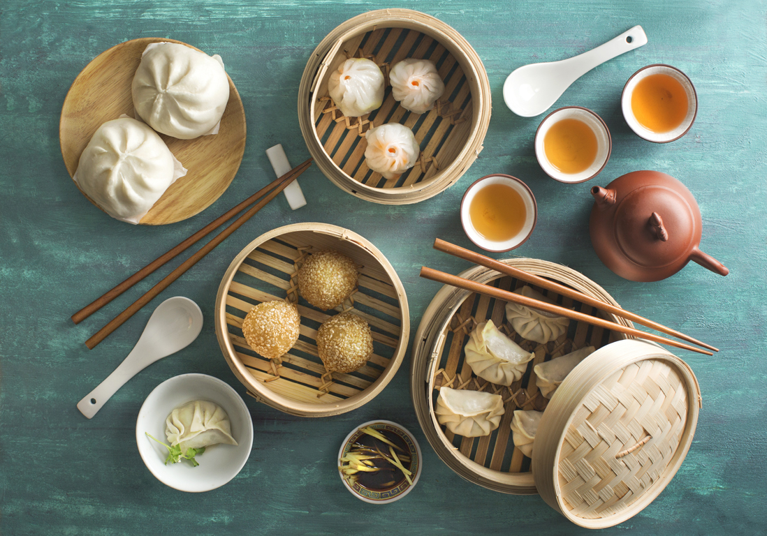 "Chinese food ""dim sum"" on green background."